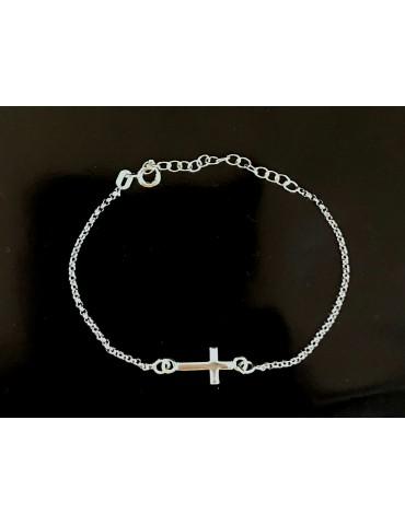 Pulsera plata de ley 925 cruz con cadena